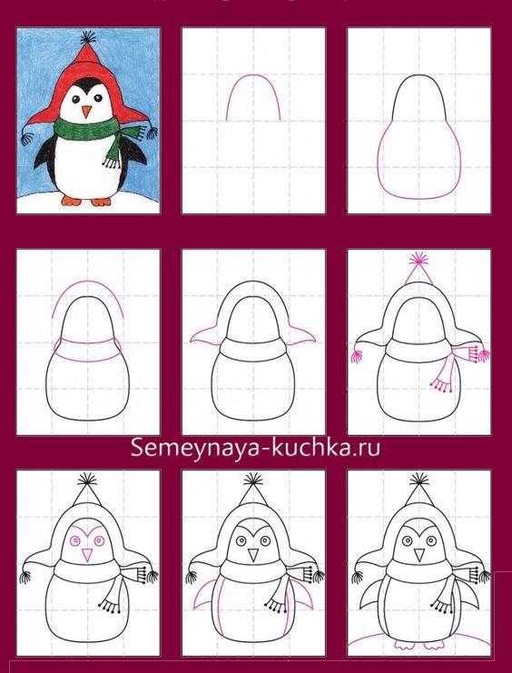 мастер-класс как нарисовать пингвина новогоднего