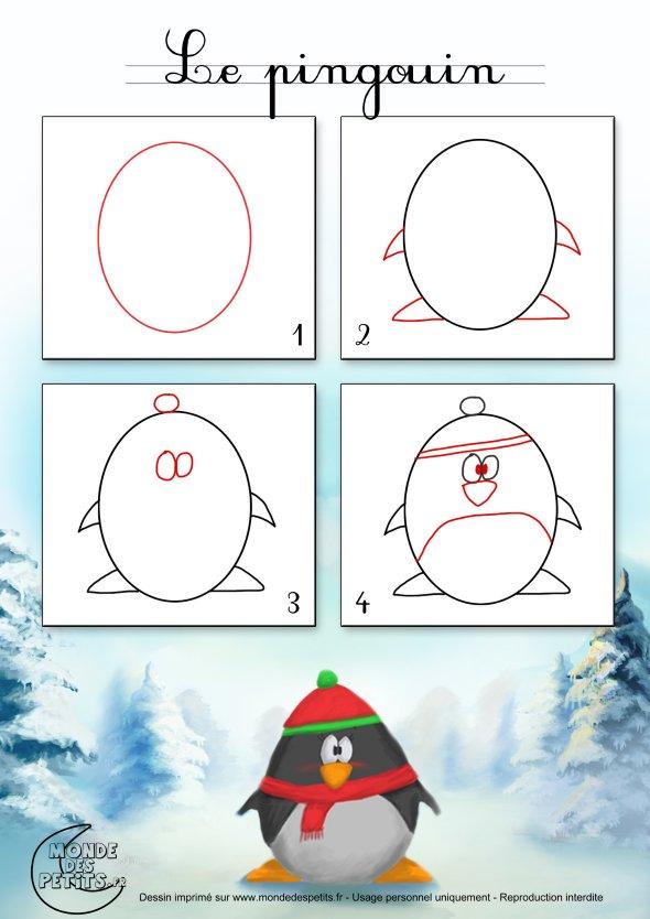 как нарисовать новогоднего пингвина