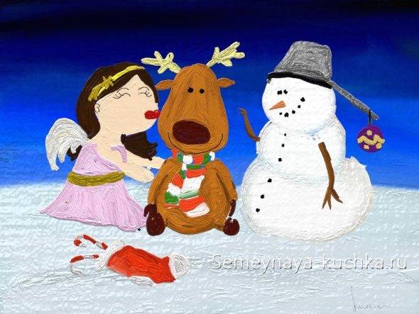 новогодний рисунок детский с оленем