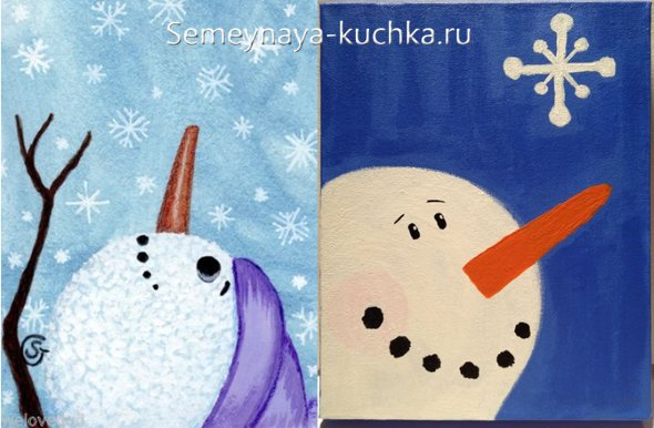новогодний рисунок снеговика
