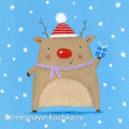 детский новогодний рисунок с оленем
