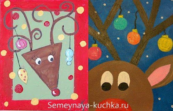 новогодний рисунок с оленем