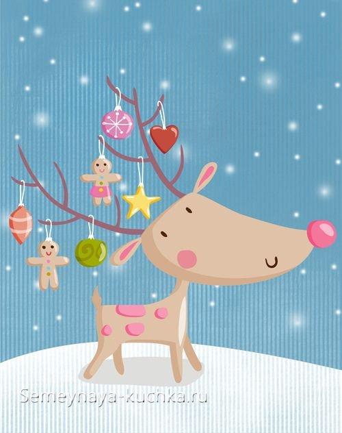 как нарисовать новогодний рисунок с оленем детям