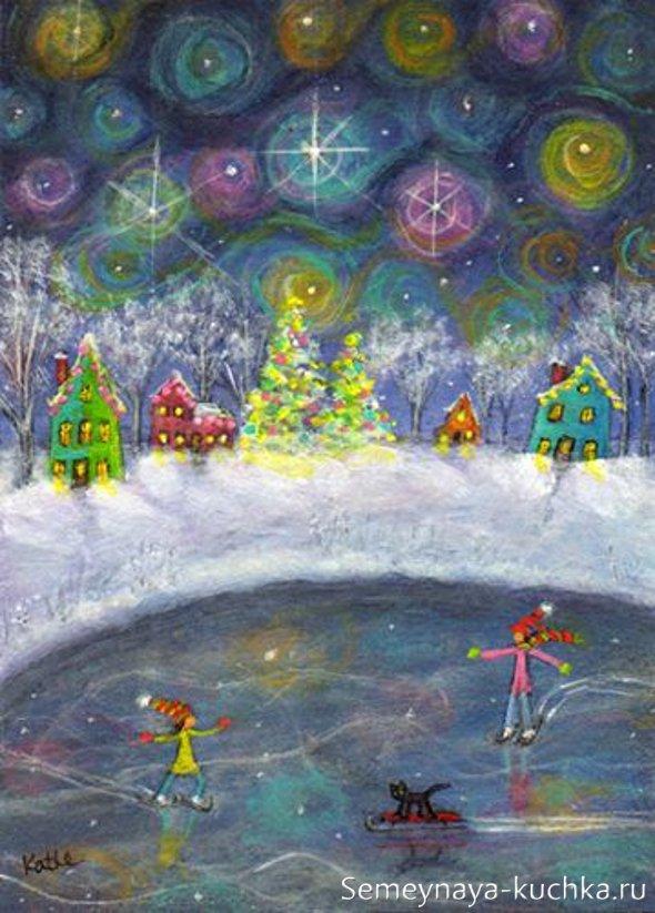 как нарисовать новый год на детском рисунке