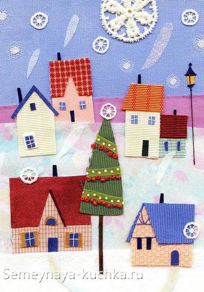 новогодний рисунок с праздничным городом