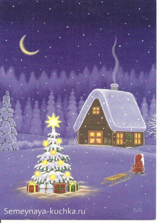 новогодний рисунок с избушкой в лесу
