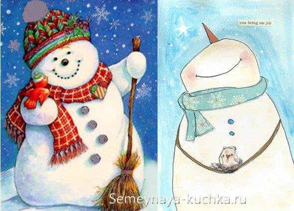 как нарисовать снеговика на новогоднем рисунке