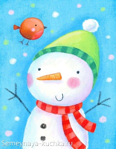 новогодний рисунок со снеговиком детский