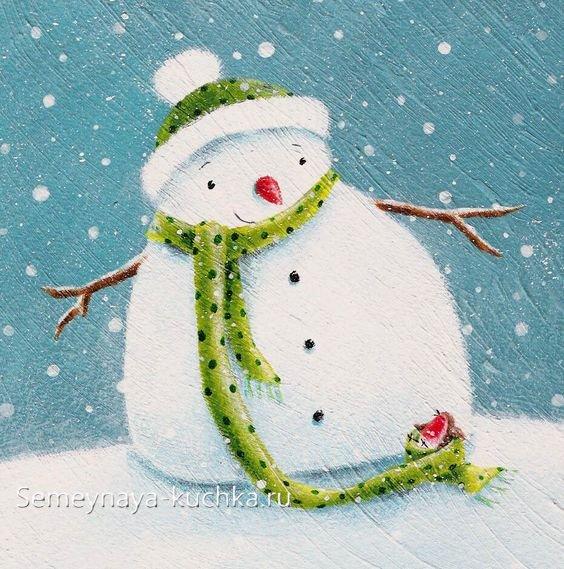 как нарисовать снеговика ребенку красками