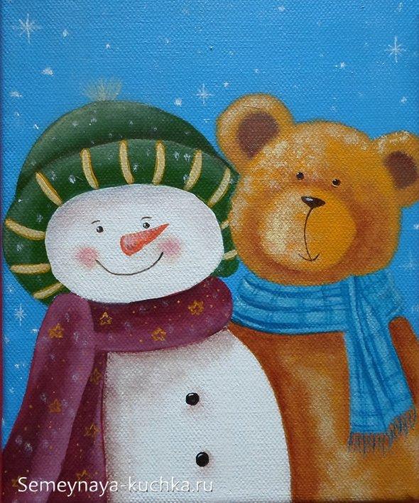 как нарисовать снеговика гуашоью с мишкой
