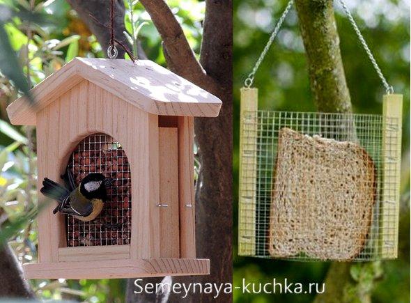 интересные кормушки для птиц из дерева