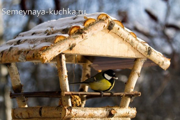 лесная деревянная кормушка