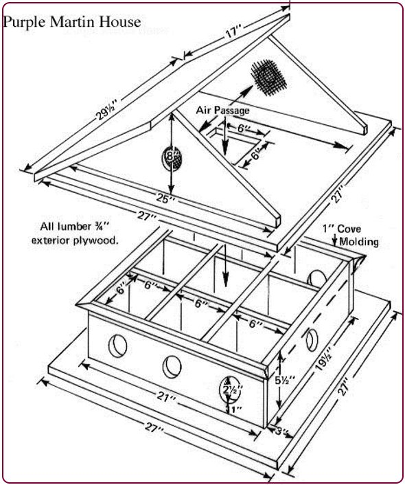 схема сборки домика для птиц на несколько мест