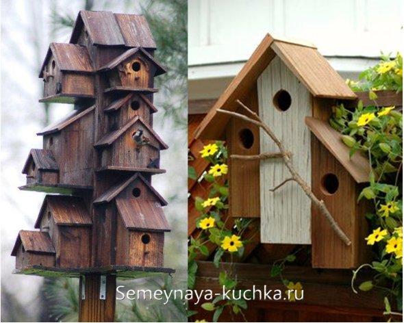 деревянный оригинальный домик для птиц
