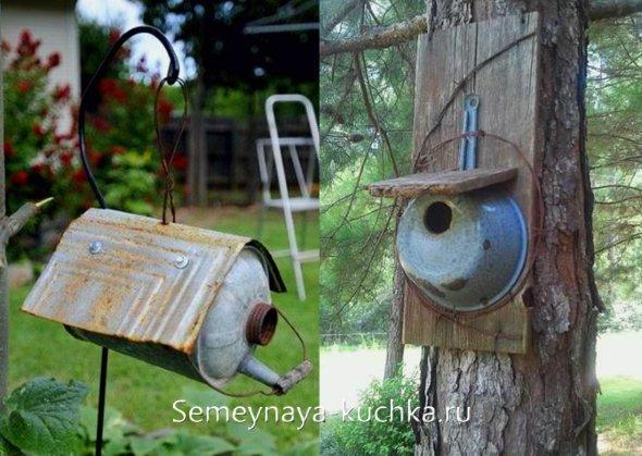 домик для птиц из посуды, бака