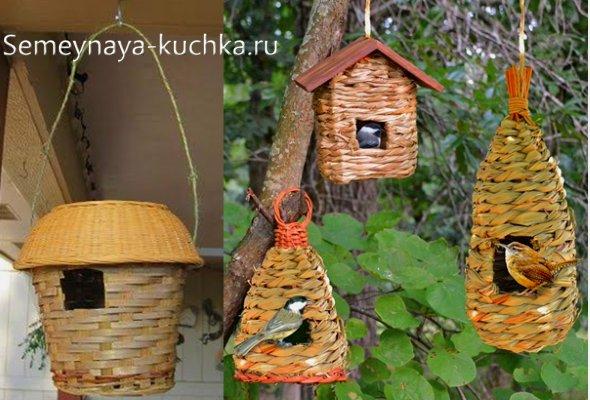 домик для птиц плетеный из корзины