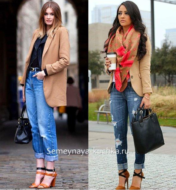коричневый пиджак с джинсами