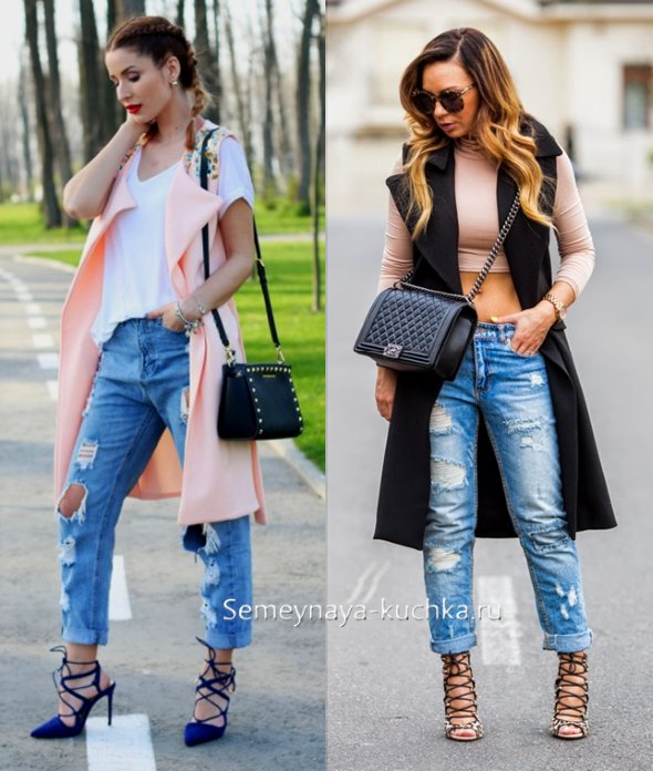 джинсы и пальто без рукавов