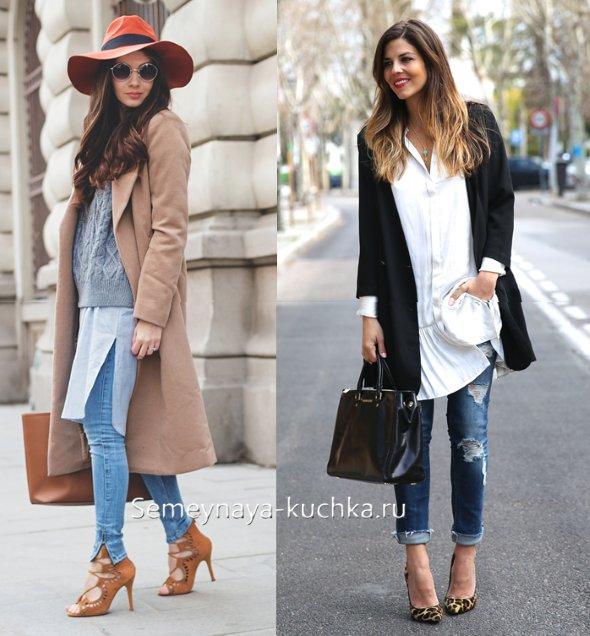 джинсы под платье-рубашку и тунику