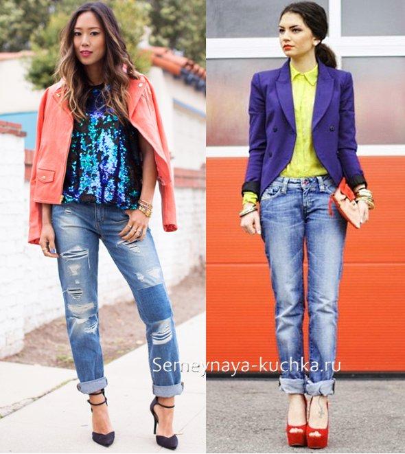 весенние джинсы под пиджак