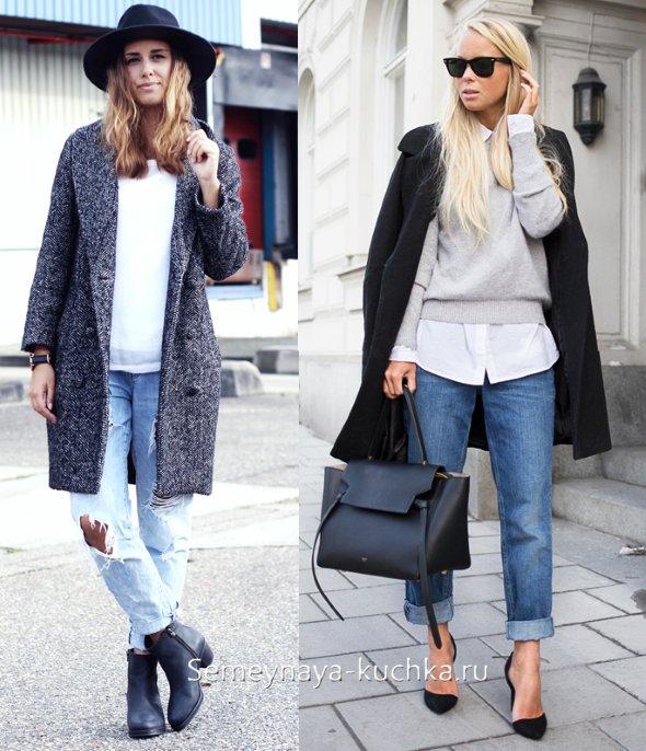 голубые джинсы с пальто