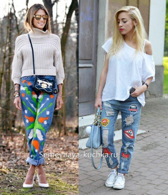 яркие джинсы с заплатками весна