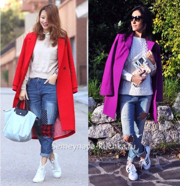 джинсы весенние с пальто