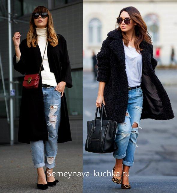 как носить джинсы с пальто весной