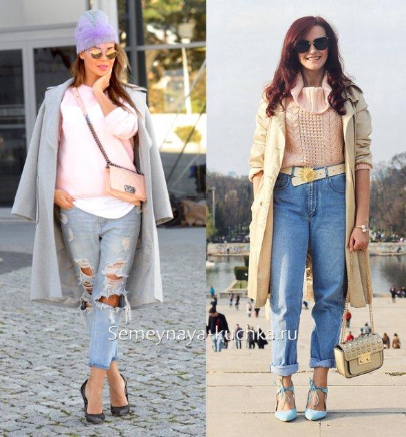 светлые джинсы и весеннее пальто