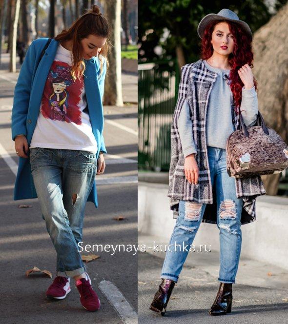 джинсы весной под пальто