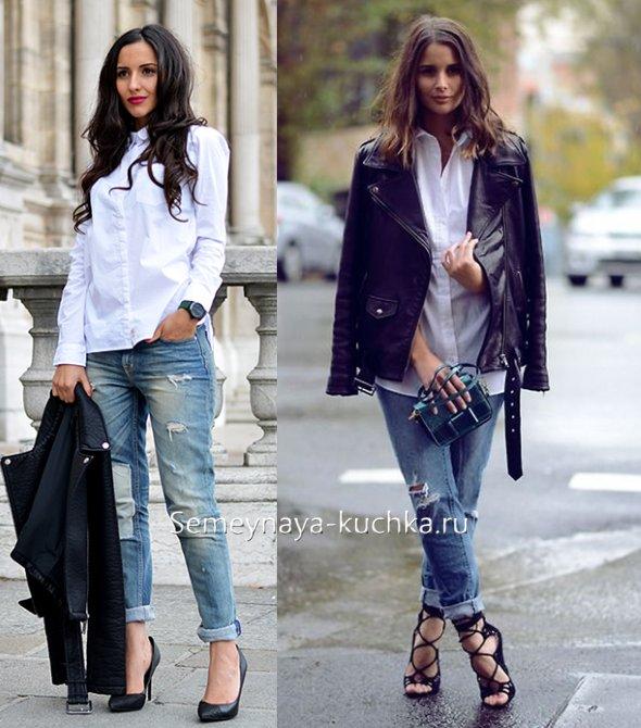 потертые джинсы с рубашкой