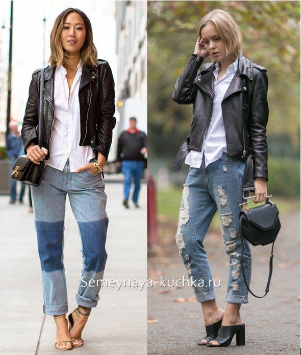 джинсы с белой рубашкой и черной кожанкой