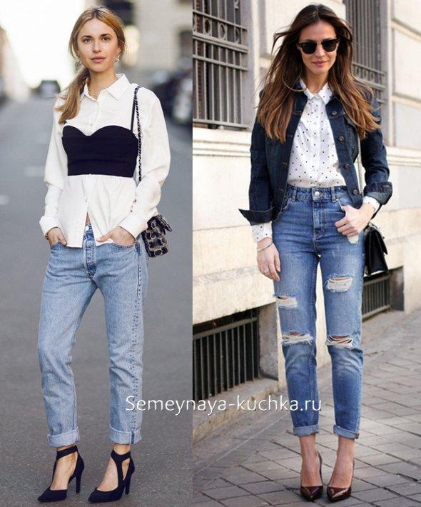 рваные джинсы с рубашкой на весну
