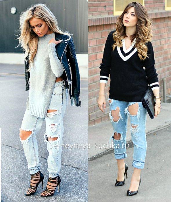 как носить светлые рваные джинсы под свитер