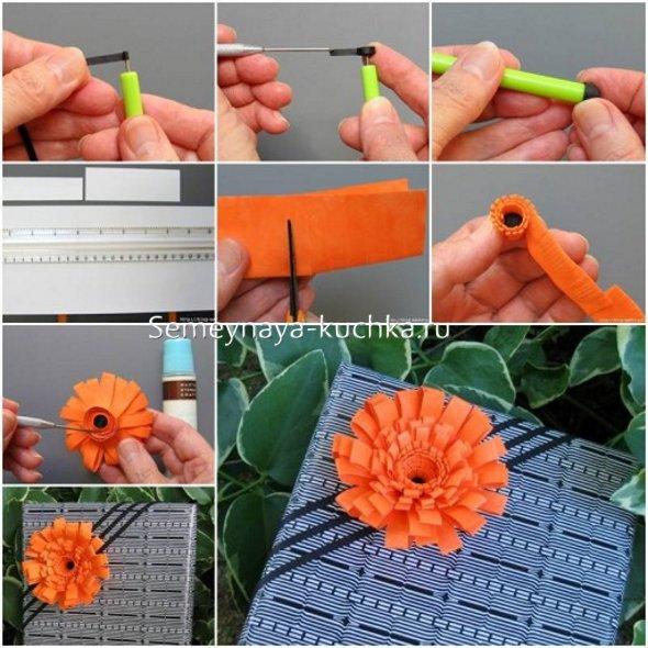 как сделать бумажный цветок герберу