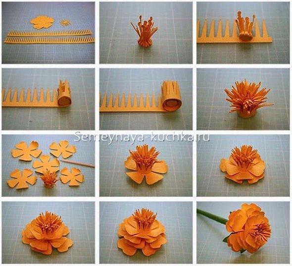 бархатцы цветы из бумаги