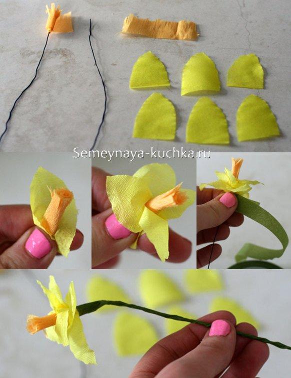 как сделать цветок нарцисс из креповой бумаги