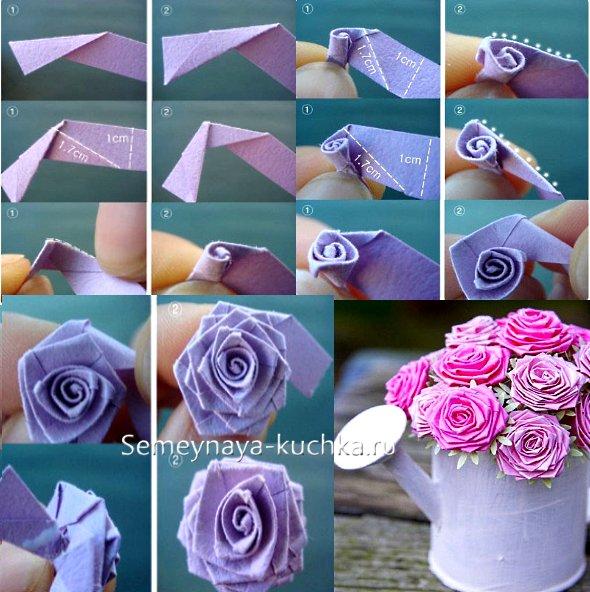 как сделать розу из плотной цветной бумаги