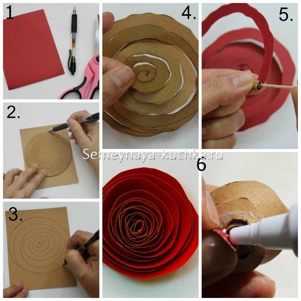 роза из картона своими руками