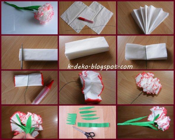 белая гвоздика из бумаги