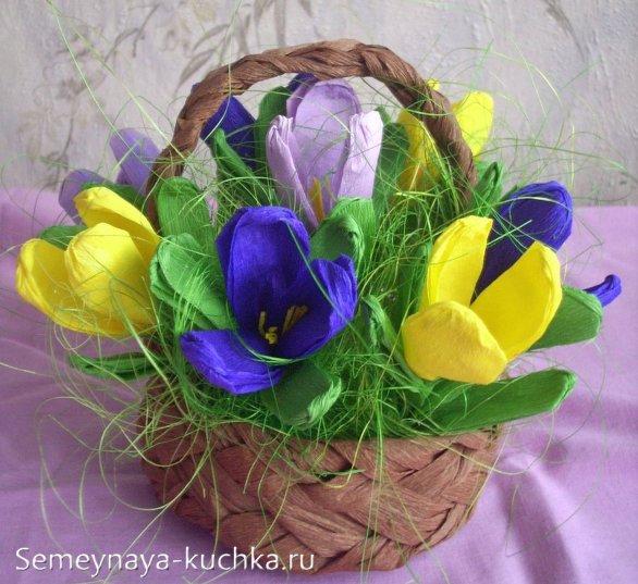 цветы кропусы из креповой бумаги