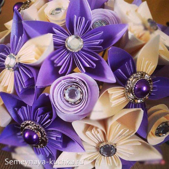 цветы оригами из цветной бумаги