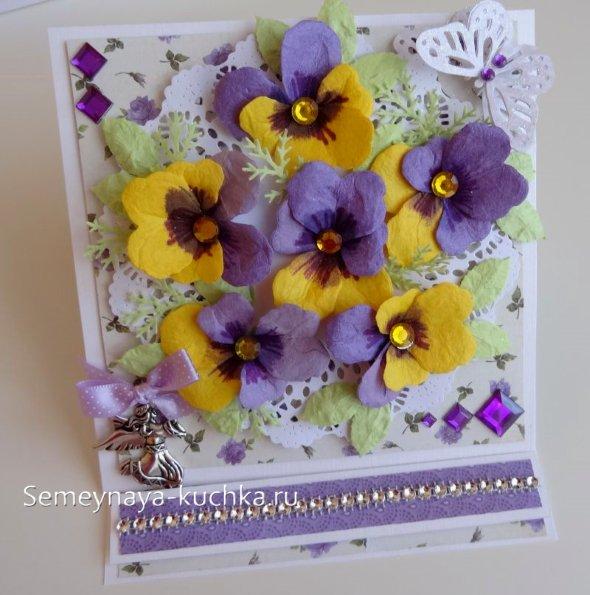 бумажные цветы на открытках своими руками