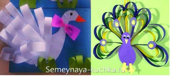 простые поделки из бумаги птицы