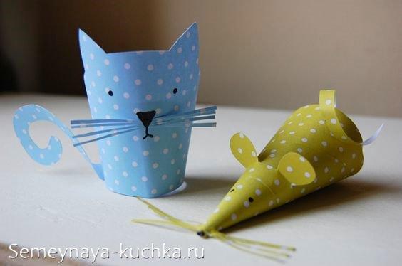 поделка кот и мышка из бумаги