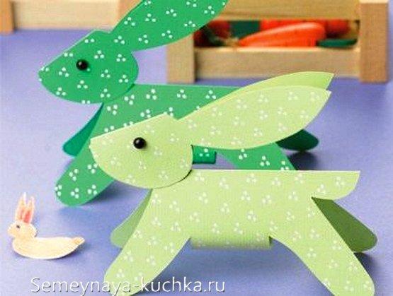поделка объемная заяц из бумаги