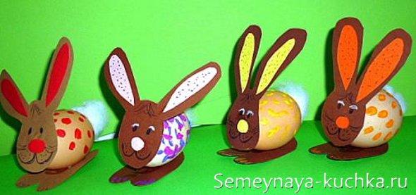 детские поделки зайцы из яиц
