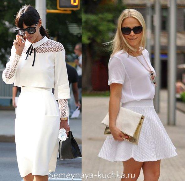 белая юбка с блузкой