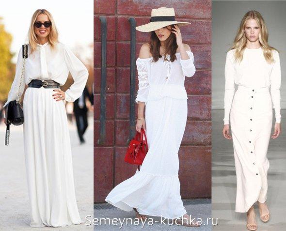 длинные юбки макси белого цвета