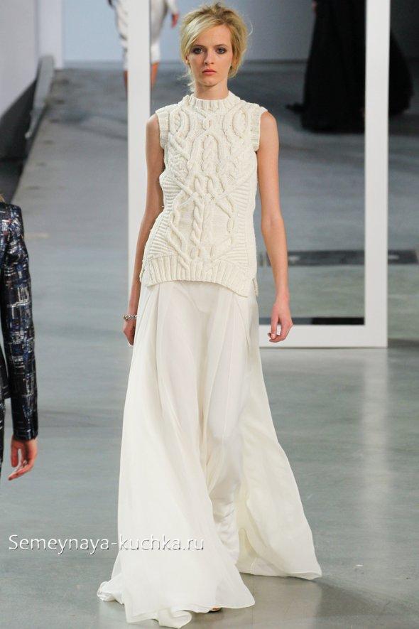 модное фото с белой юбкой